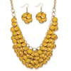 Yellow Bib Necklace and Cluster Earrings Set in Yellow Gold Tone