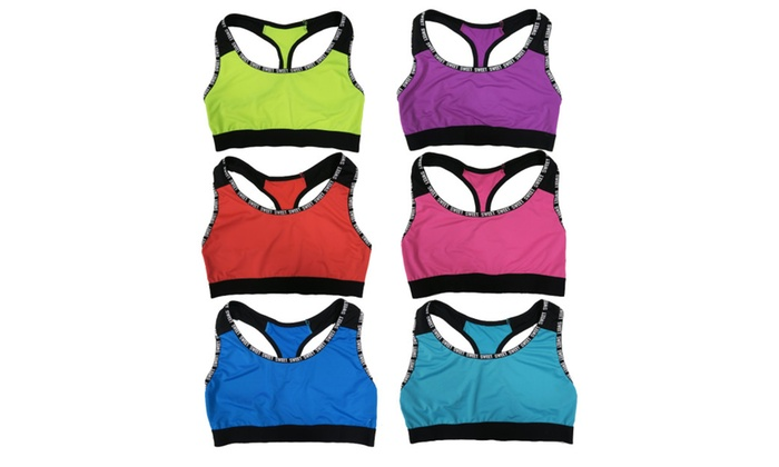 "Women 6 Pack Neon Color ""Sweet"" Edge Matching Non-Padded Sports Bras"