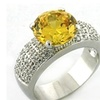 Citrine CZ Ring - Round Cut Solitaire Platinum Plated Clear Pave