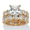12.67 TCW CZ 14k Gold-Plated Wedding Ring Set