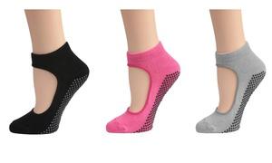 Women's Mary Jane Bella Yoga Socks with Grips Non Slip Ankle Socks