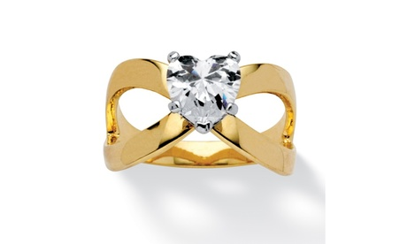 1.17 TCW Heart-Cut Cubic Zirconia Infinity Ring in 14k Gold-Plated 77122738-2620-4ec5-80a1-00521db91bb8