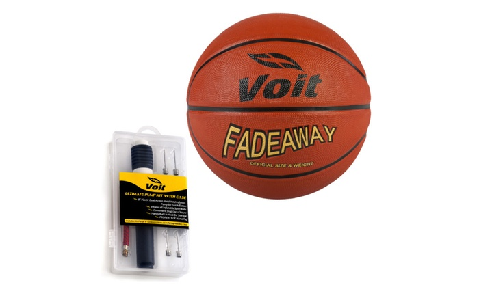 Voit Size 7 Fadeaway Rubber Basketball with Ultimate Inflating Kit
