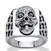 Men's Grey Crystal Textured Skull Ring in Stainless Steel