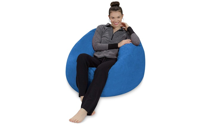 Plush Ultra Soft Bean Bag Chair Memory Foam With Microsuede Cover