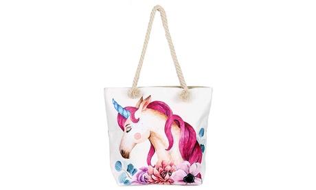 Unicorn Floral Fashion Large Canvas Shoulder Tote Bag Purse (Goods Women's Fashion Accessories Handbags) photo