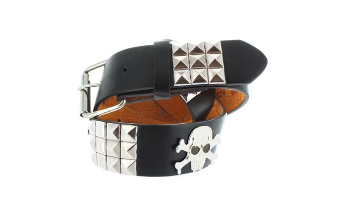 Faddism Unisex Black Leather Belt with Silver Pyramid Studs & Skull