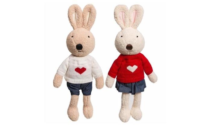 Ibonny Plush Rabbit Stuffed Animals Cute Bunny Couple Toys Set Of