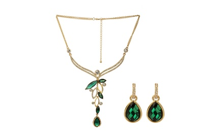 ROYAL MUGHAL - DEEP GREEN TEAR DROP NECKLACE & EARRING SET