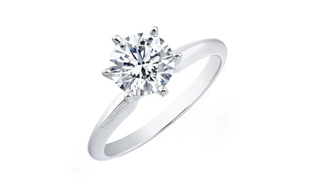 1.50 Carat Diamond Solitaire Diamond in 14k White Gold and Yellow Gold