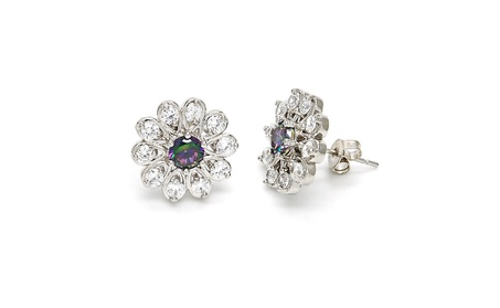 Sophisticated White With Amethyst Flower Stud Earring By Folks Jewelry