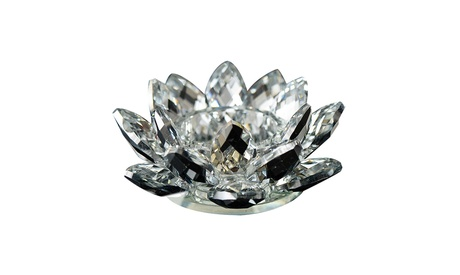Inverlee Crystal Glass  Flower Candle Tea Light Holder Buddhist Candlestick
