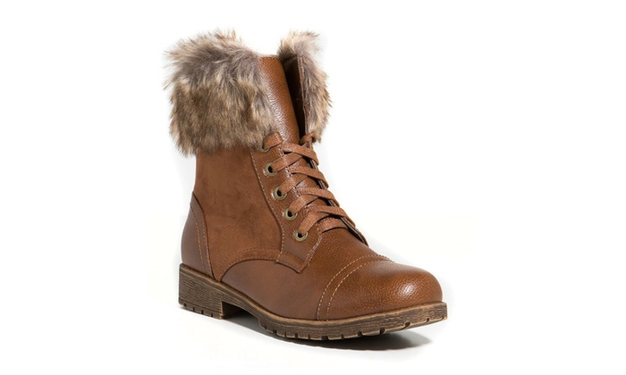Vegan Leather Lace Up Faux Fur Ankle Cuff Lug Sole Booties