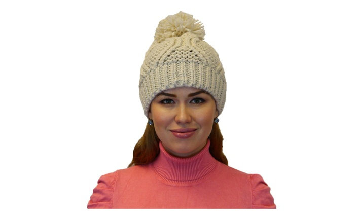 Winter Warm Thick Cable Knit Beanie Hat with Pom Pom Skull Cap
