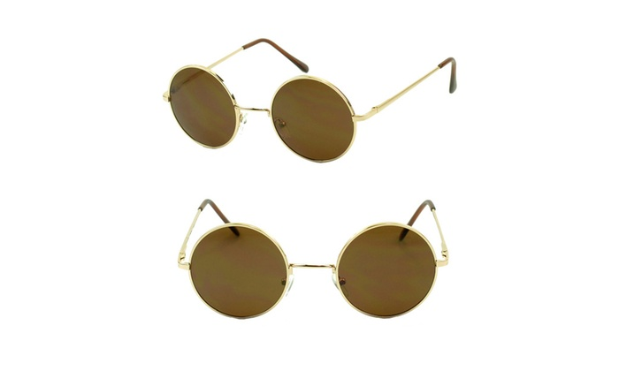 Small Round Hipster Style Gold Retro Sunglasses for Women