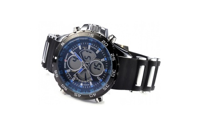 Digital LCD Analog Dual Time Date Stopwatch Rubber Quartz Watch - BLUE 028a3ecc-4d01-4ce2-ac34-1d24f9742dff