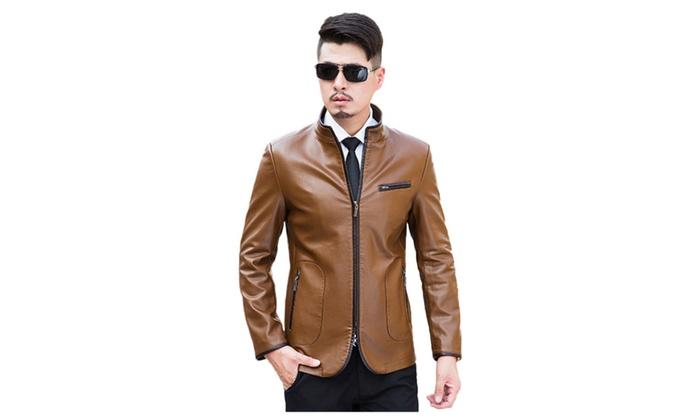 Men's Stand Collar Front Zip Leather Coat Jacket