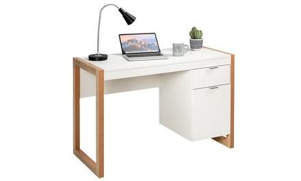 Costway Modern Computer Desk Workstation Desk Home Office w/ Storage Cabinet
