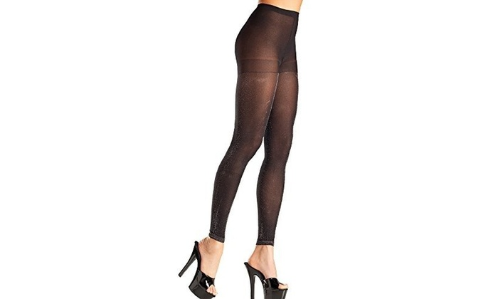 d3feafefec3 Be Wicked BW697B Opaque Black   Silver Footless Pantyhose One Size ...
