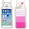 Perfume Bottle Stripes Hard 3D Rubber Case Chain w iPhone 6 Pink/White