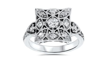 1/2 CT Vintage Diamond Ring 10K White Gold 89a37c80-925d-4142-a2fa-3c6fe90874d4