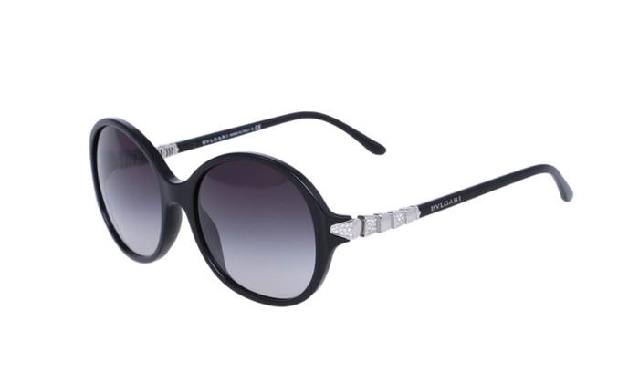 2d6aec62af BVLGARI 8140-B Bulgari Black Round Crystals 2015 Designer Sunglasses ...
