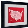 Michael Tompsett 'RED-USA States Text Map' Matted Black Framed Art