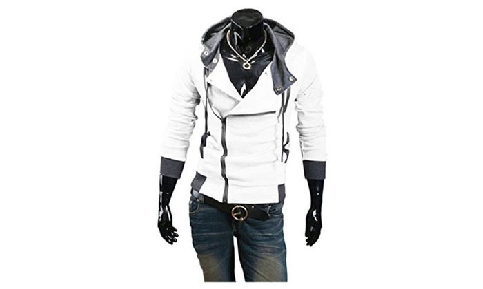 Men's Oblique Zipper Up Hoodies Cardigan Top Coat Jacket