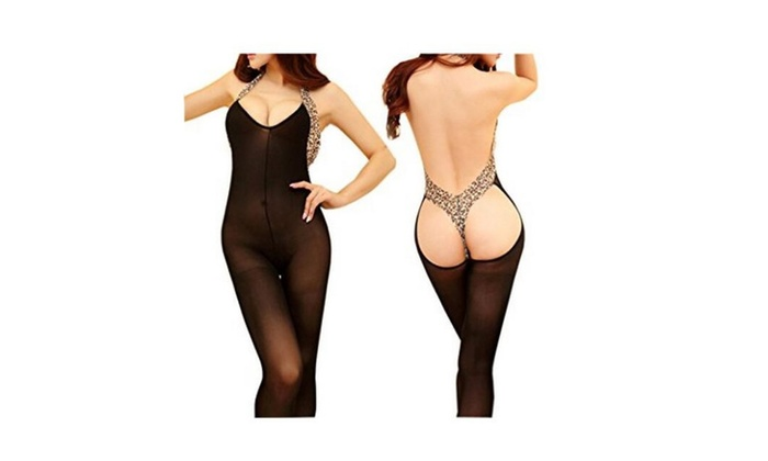 Womens Sexy Lingerie Body Halter Leopard Stocking Bodysuit Nightwear