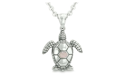 Amulet Sea Turtle Cute Man Made Crystal Lucky Charm Pendant Necklace