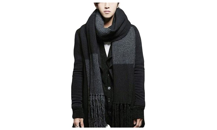 Misslin Men's Winter Stylish Crewneck Tassel Warm Stretch Scarf – Black