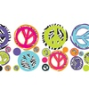 Roommates Zebra Print Peace Signs Wall Decals