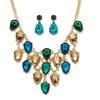 DISC- Teardrop Crystal Jewelry Set in Yellow Gold Tone