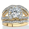 3 Piece 2.61 TCW CZ Bridal Ring Set 14k Gold over .925 Sterling Silver