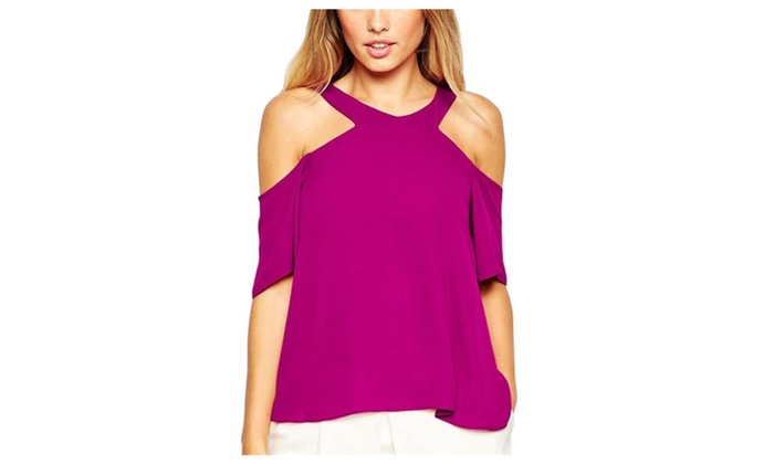 Women's Intriguing Strapless V Neck 1/2 Sleeve Chiffon Blouse