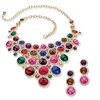 Multicolor Lucite and Crystal Jewelry Set