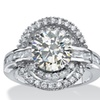 4.21 TCW Round Cubic Zirconia Circle Ring in Platinum over .925 Silver