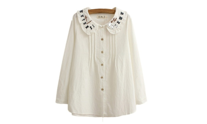 Shefetch Women's Pleated Embroidered Cardigan Blouse