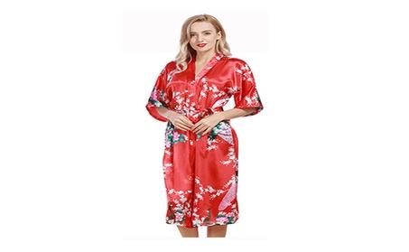 Jana Jira Kimono Women's Soft Robe Peacock Bridesmaids sleeping wear