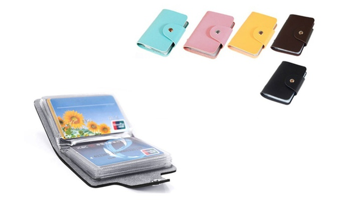 Compact Business and Credit Card Holder Convenient Snap Button Closure
