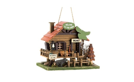 Backyard Birding & Wildlife Wood Yard Outdoor Moose Lodge Bird House (Goods Outdoor Décor Bird Feeders & Baths) photo