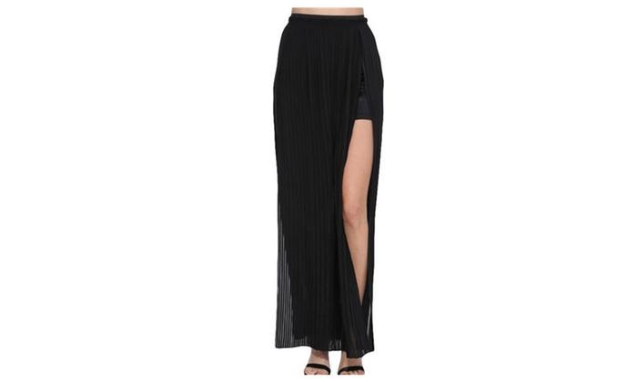 Women's Slim Fitted Bohemian High Slit Long Pleated Skirt