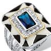 .88 TCW Emerald-Cut Blue Crystal Art Deco-Style Ring in Silvertone
