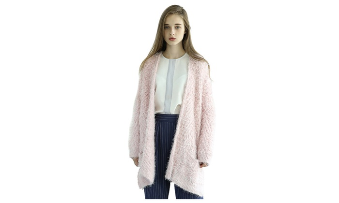 Women's Casual Solid Color Thick Knit Cardigan Sweater Jacket
