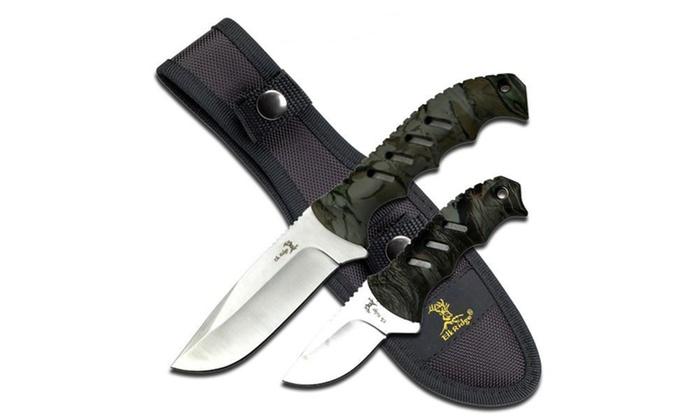 Elk Ridge Fixed Blade Knife Set 4.35 and 2.5 Blades
