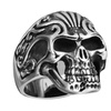 Stainless Steel Skull Ring with designs on the head SSR175