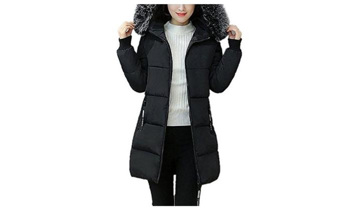 Women's Winter Padded Parka Thicken Fur Hooded Coat Jacket