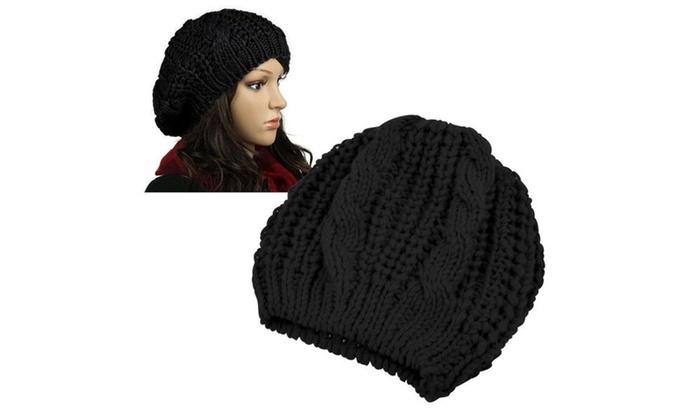 Zodaca Black Winter Warm Knit Beret Hat Beanie Crochet Ski Baggy Cap