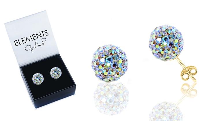 Solid 14k Gold Aurora Borealis Stud Earrings With Swarovski Elements
