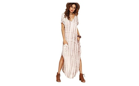 Women's Short Sleeve Split Tie Dye Irregular Maxi Dress 62884bd3-3dc1-4746-9e7d-edb4bd0aace1